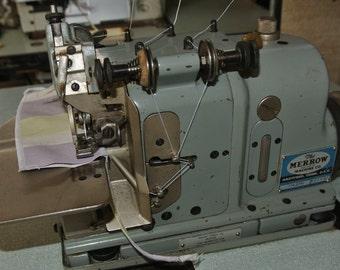 Merrow M-3DW Narrow Edge Patch Emblem Industrial Overlock Sewing Machine