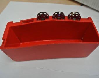 Singer 222K Featherweight sewing machine Red Accessories box