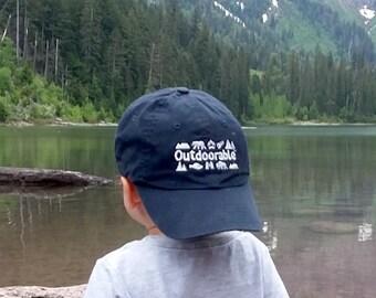 OUTDOORABLE - 3 Colors - Toddler, Youth Baseball Hat, Camping, Hiking, Mountains, Toddler Boy Hat, Toddler Girl Hat, Girl Hat, Boy Hat, Kids