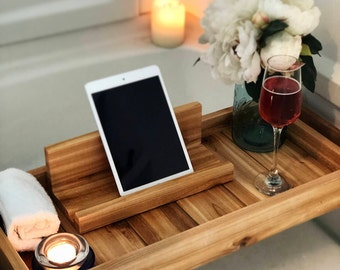 Bath Tray, Bath Caddy, Bath Tray with IPad Holder,  Wooden Bathtray, Bathtub Tray, Bath Tub Tray,