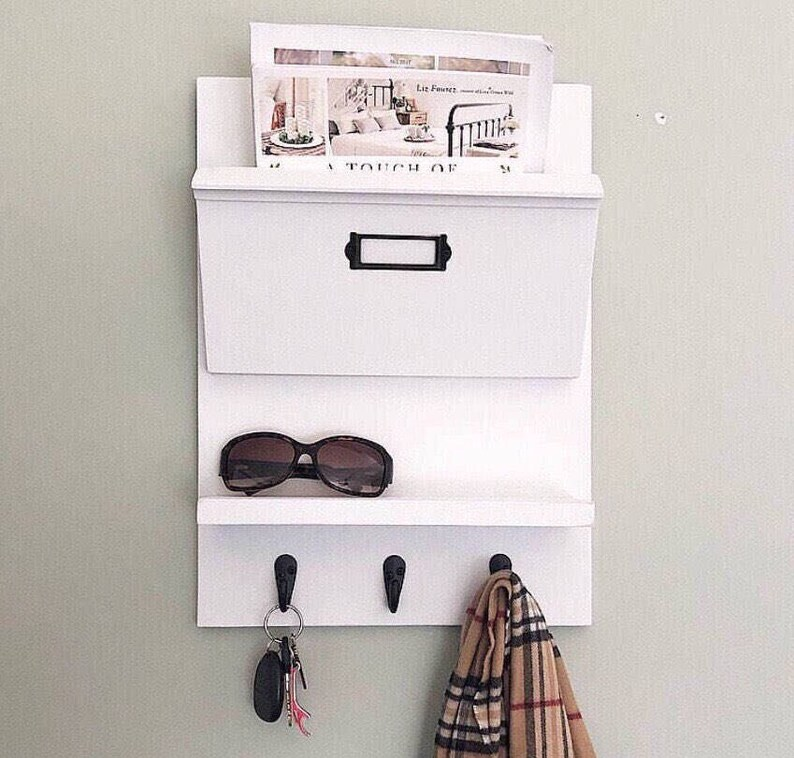 c5b35ee6b21a Entryway Organizer for mail, Mail Organizer, Hanging Mail Organizer Wall,  Office Decor, Command Center, Mail Holder, Mail Sorter, Coat Rack