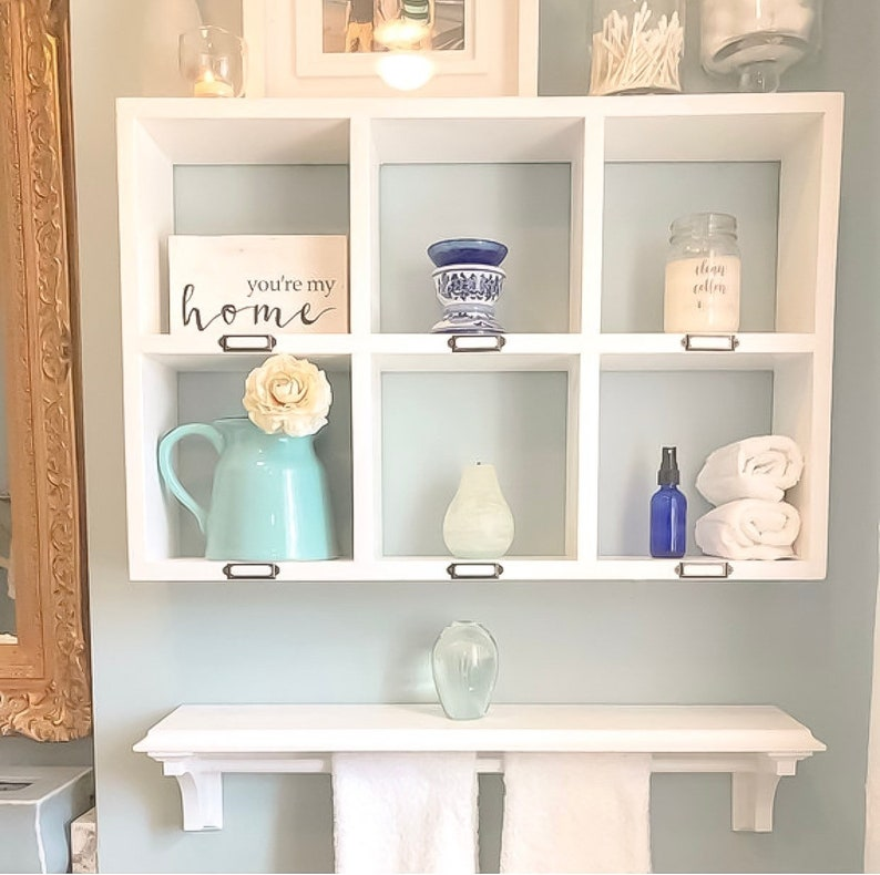 Badezimmer-Regal-Set - schwimmende Regale - über die Toilette Storage -  Badezimmer Veranstalter - Handtuchregal - Holz Wandregal - zwei Stück SET