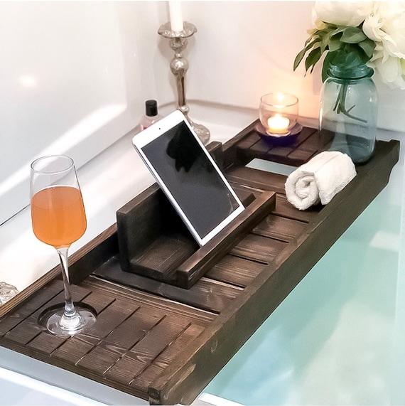 Bath Caddy bain Board Bain Plateau Support Plateau Téléphone Tablette Support Bain UK