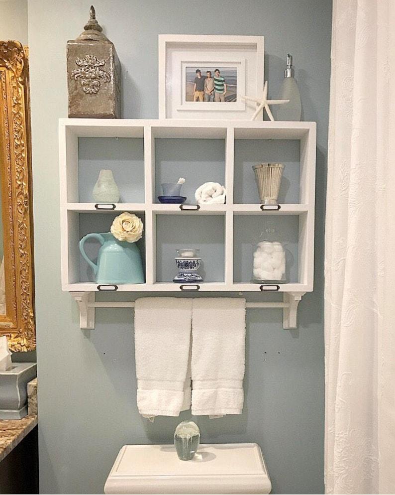 Bad-Regal mit Handtuchhalter - Handtuch Rack - Handtuchstange - Badezimmer  über der Toilette Storage - schwimmende Regale - Bad Wand Veranstalter-