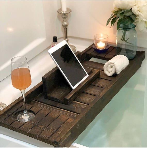 Bath Tray with Wine Holder Bath Caddy Bath Tray with IPad   Etsy