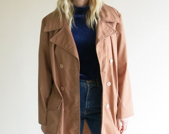 Light Cotton Trench Jacket // Thin Trench Coat // 70's Trench Jacket // Light Weather Trench Jacket