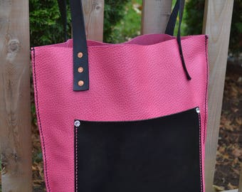 Handmade Pink Leather Tote