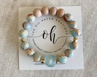 Sea Sediment ~ Gemstone Bracelet ~ African Sea Glass ~ Diffuser Bracelet ~ Aromatherapy ~ Essential Oil ~ Beach ~ Holistic ~ Travel ~ Boho