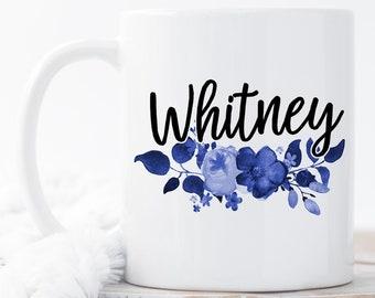 Floral Name Mug, Custom Name Mug, Personalized Mug, Custom Coffee Mug, Monogram Mugs, Personalized Gift, Bridesmaid Mug, Custom Name Mugs