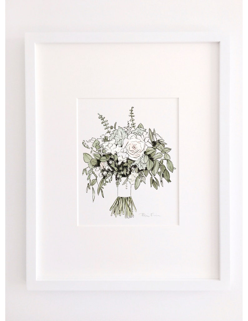 Custom Wedding Bouquet Painting Personalized Wedding Gift for Couple Botanical Illustration Watercolor Flowers Painting First Anniversary