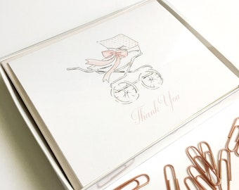 Baby Shower Thank You Notes Watercolor Baby Stroller Stationery Baby Girl Pink Bow Baby Carriage Stationery Set Thank You Cards