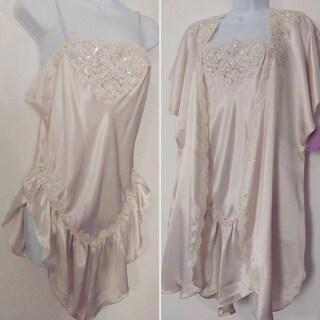 Jonquil Pink Satin Teddy Set Pearl Alencon Lace, Sequin Trim New w Tags Size L