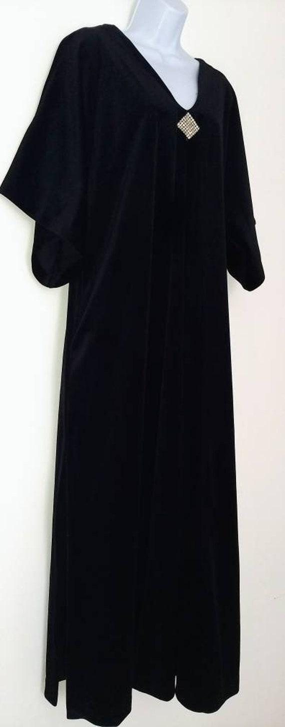 David Brown Black Velvet Robe w rhinestone applica