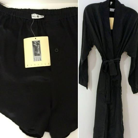 MANSILK 2PC SET Silk Robe /& Boxer Short New w Tags