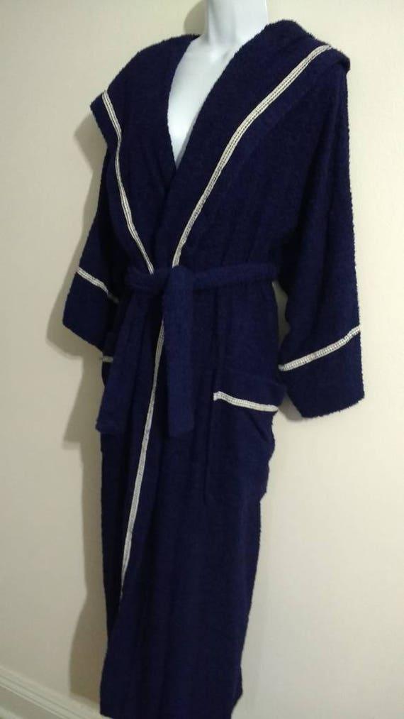 Priamo Navy Terry Robe hooded Wrap Cotton New W Ta