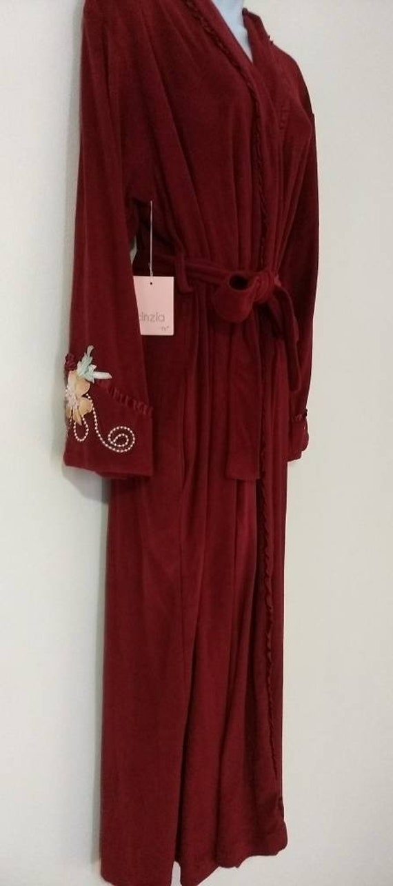 Cinza Red Baby Terry Wrap Robe Floral Appliques &