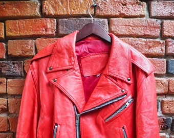 Women's 90s Red Leather Jacket Perfecto Medium Acne Studios Style With Silver Hardware Zips Buckle Belt