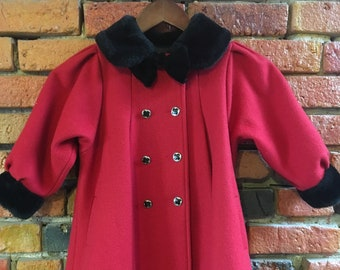 Kid's Red Evening Coat Jacket with Black Faux Fur Collar and Double Breasted Button Front