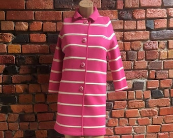 60's Pink Cream Stripe Wool Overcoat with Detail Buttons 3/4 Length Sleeve Midi Length Collar Vintage Women's