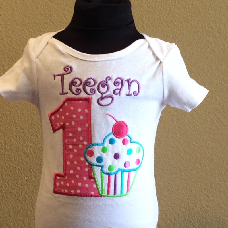 Birthday polka dots Cupcake embroidered shirt-personalized up to 6x
