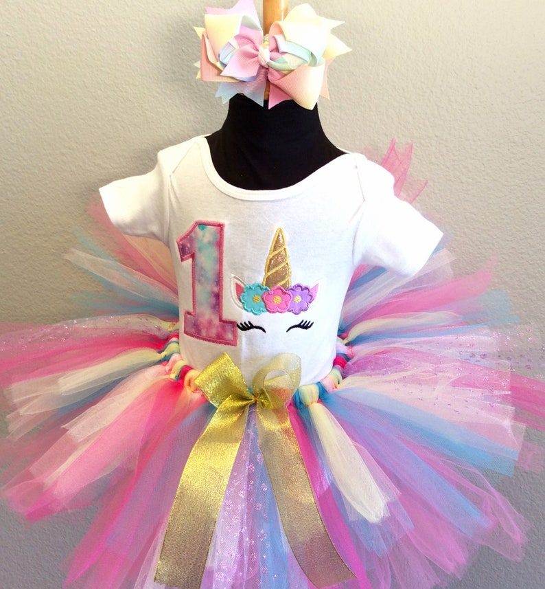 Unicorn Rainbow tiered style birthday tutu set-custom made up to 6x