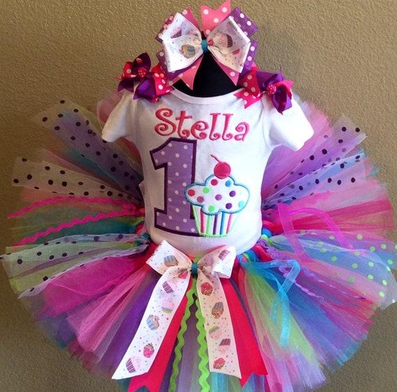 /& hair bow Polka dot Birthday number tutu set 3 piece-tutu top
