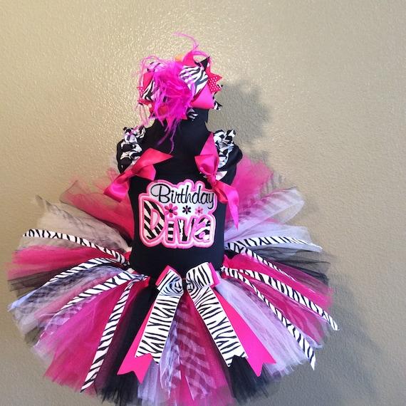 top /& hair bow Birthday crown Zebra number tutu set 3 piece tutu
