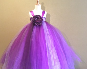 Purple tulle flower girl dress-custom made up to size 3t