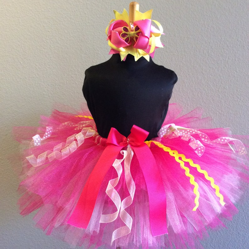 Pink and Yellow tutu and hair bow set custom made up to 66x