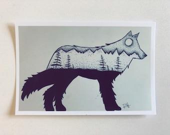 Pointillism Forest Wolf