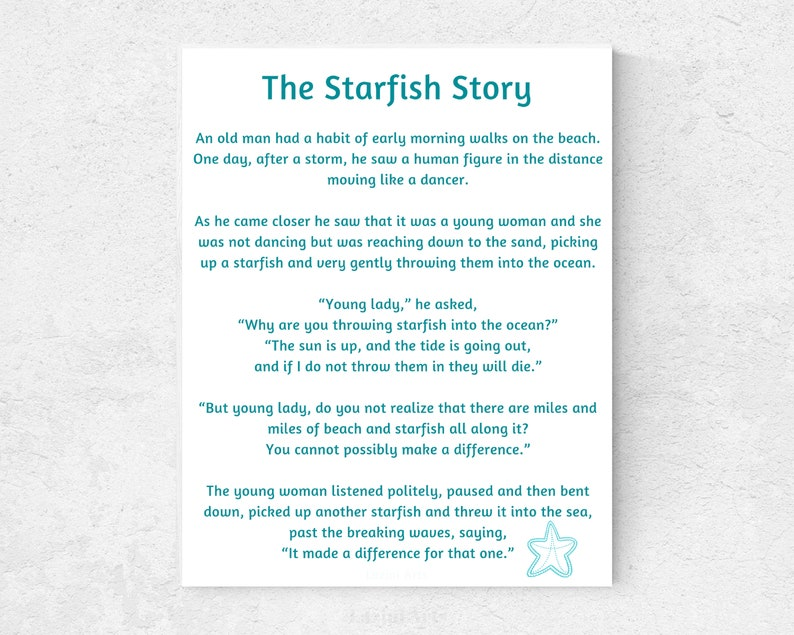 graphic relating to Starfish Poem Printable known as Starfish tale! Starfish poem by way of Loren Eiseley - Printable indicator.