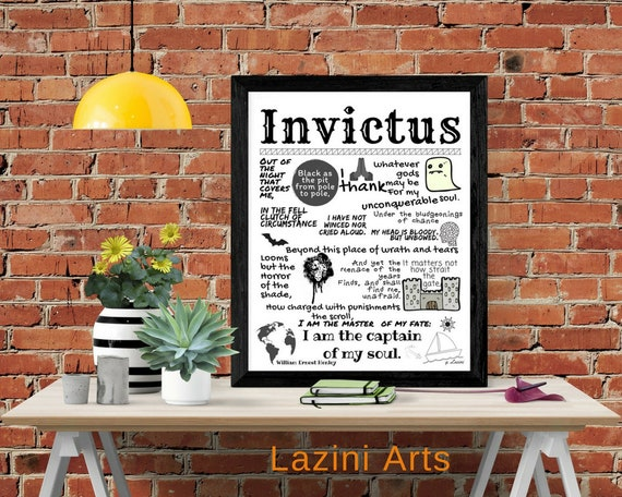 Poem About Life Invictus Poem By William Ernest Henley Inspirational Poster Student Wall Poster Dorm Decor Sport Poetry Wall Art
