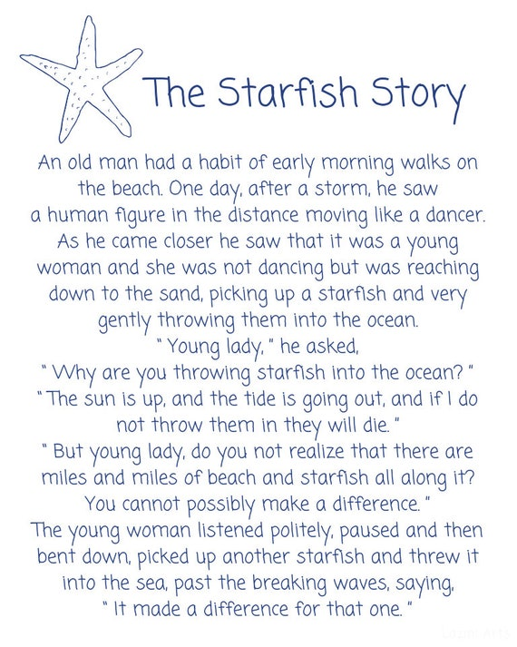 image about Starfish Story Printable titled Starfish Poem by means of Loren Eiseley, The Starfish Tale Printable Indication!