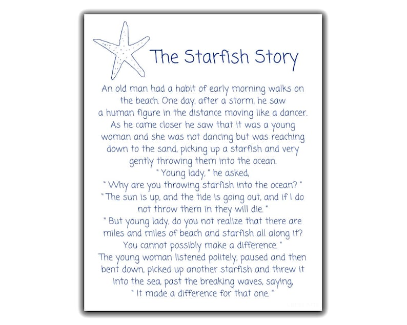 photograph about Starfish Story Printable known as Starfish Poem via Loren Eiseley, The Starfish Tale Printable Signal!