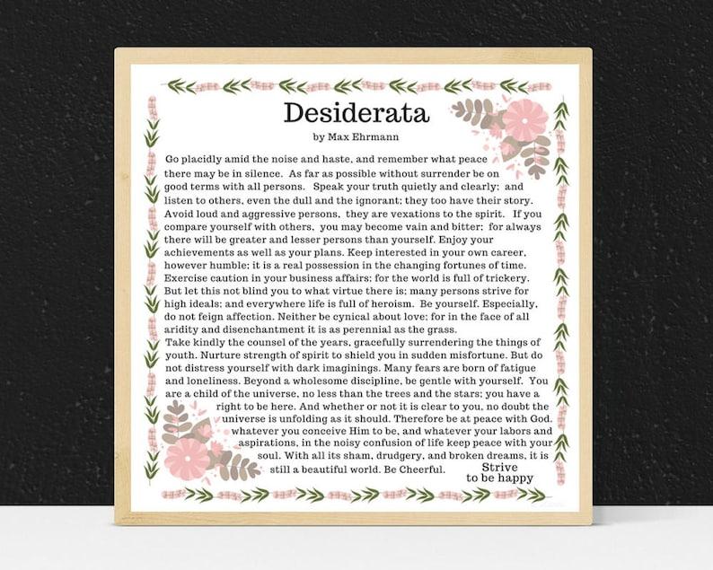 graphic relating to The Desiderata Poem Printable named Desiderata Comprehensive Phrases. Desiderata Finish Poem. Desiderata Poster. Max Ehrmann Desiderata Wall Artwork Print 8 x 8 Printable Desiderata Poem Art