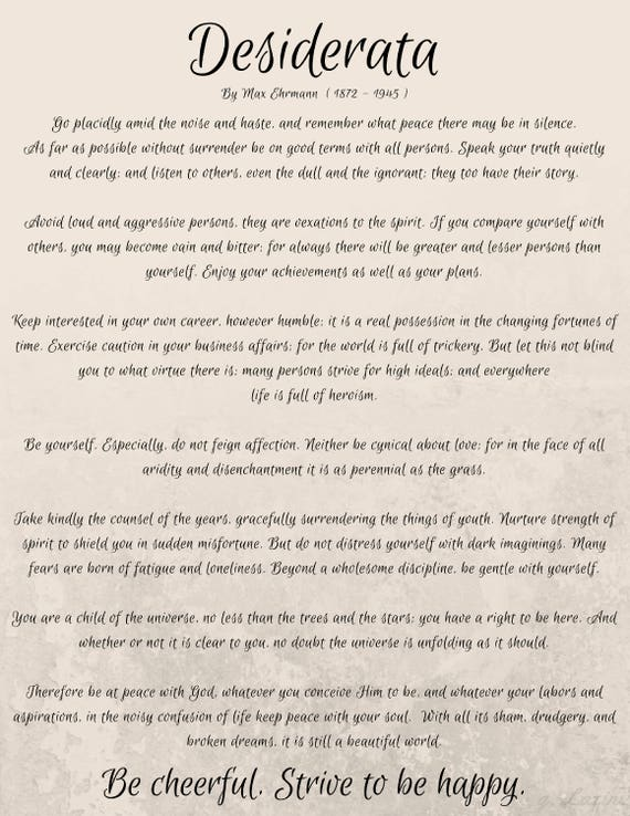 Best Loved Poems Famous Poems Favorite Poems Desiderata Etsy