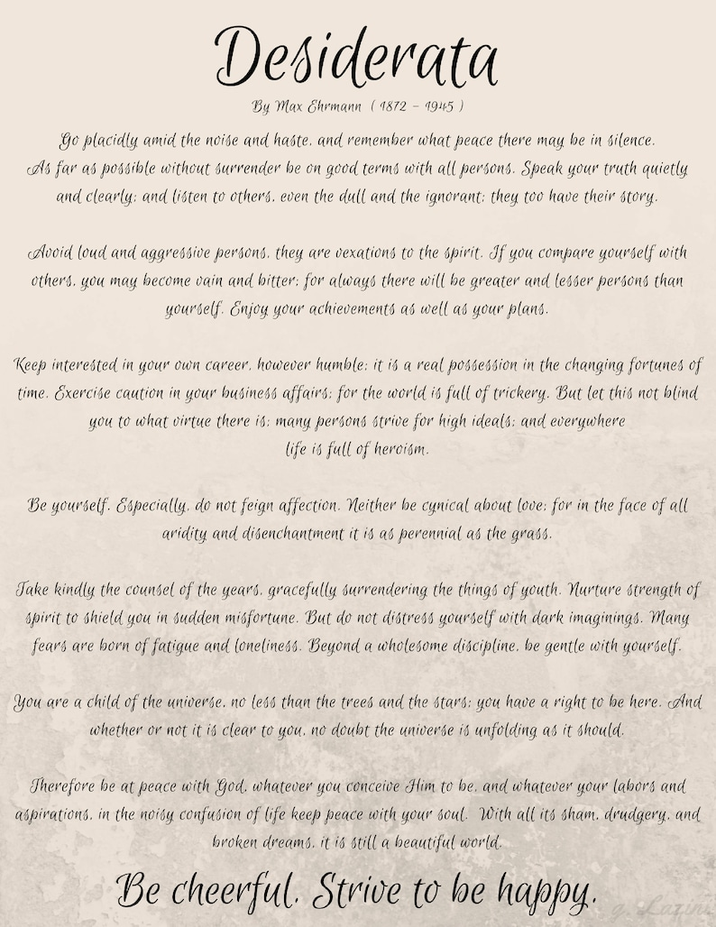 Best Loved Poems  Famous Poems  Favorite Poems  Desiderata  Max Ehrmann  Poem  Desiderata Poster  Desiderata Quote  Full Poem  Printable  Art