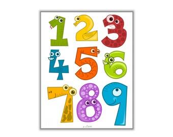 Nursery numbers art, Kids numbers print, Kids wall art print, Kids room decor, Numbers print, Nursery art, Childrens art, Kids printable