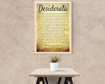 Desiderata. Desiderata poster. Desiderata Poem. Full Text. Full Poem. Famous Poems. Max Ehrmann. Desiderata Wall Art. Desiderata Printable.