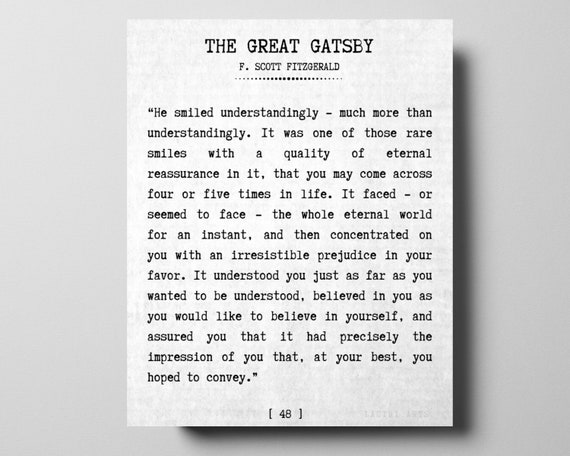 The Great Gatsby Literary Quote Sign By F Scott Fitzgerald Etsy