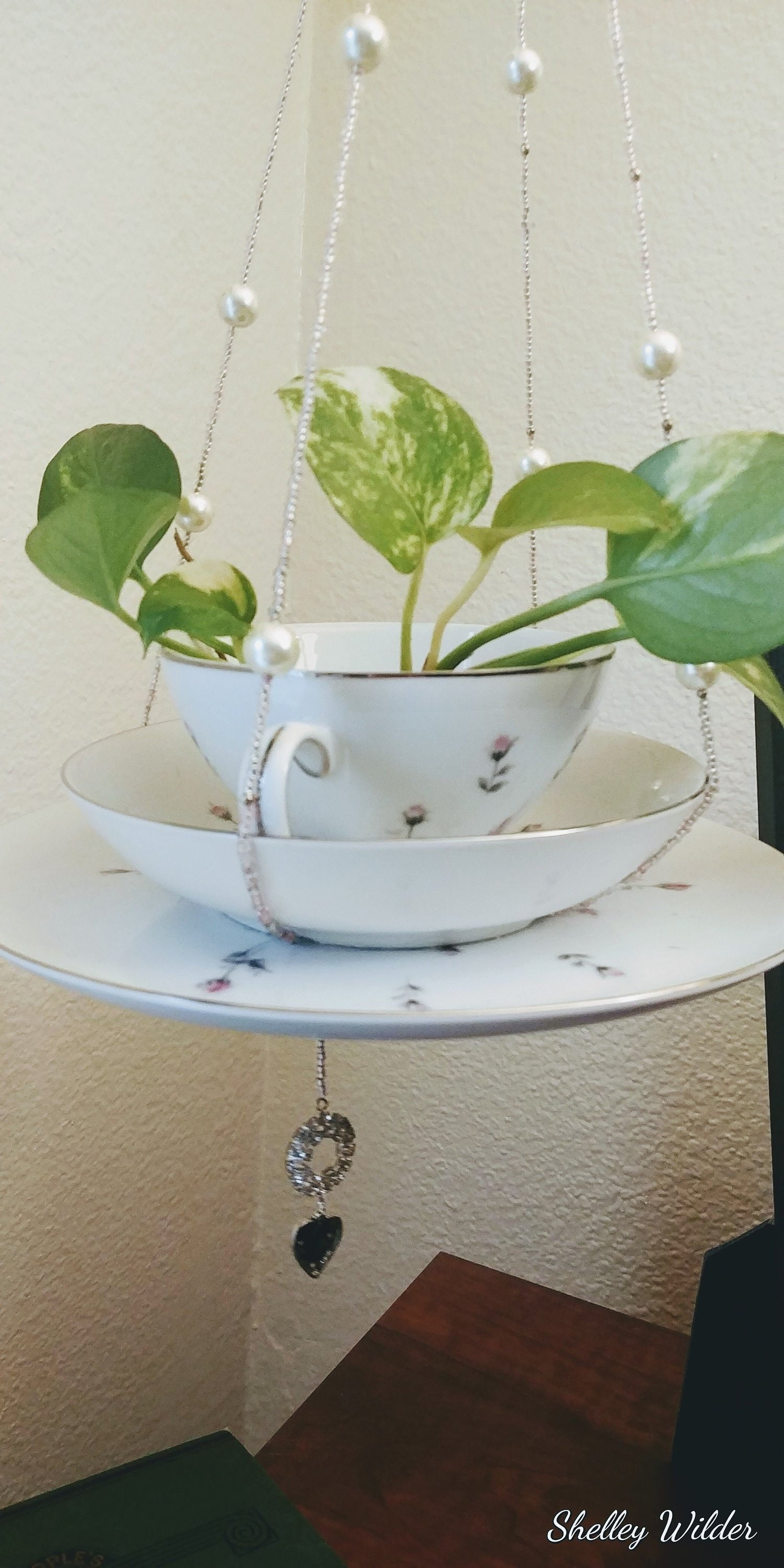 Hand Beaded Three Tier Teacup Art Hanging Planter With Breast Cancer