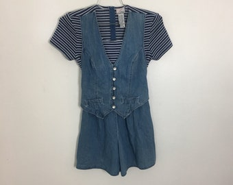 ee55210909 Coolest 90s Stripe Romper onesie denim indigo blue jean textured stretch  button up pearl coveralls overalls vest womens 6 medium one piece