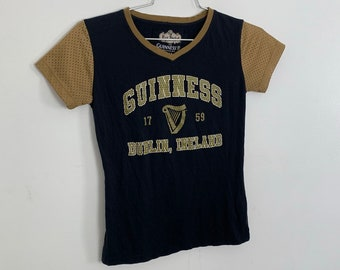 edf4d9719f855 Guinness Dublin Ireland Fitted Tee womens medium small babydoll football  jersey gold raglan sleeves beer irish porter st paddys patrick iri