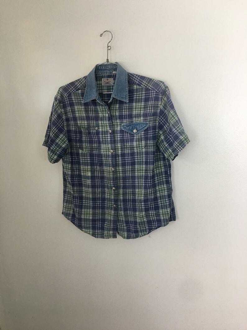 Relay Denim and Plaid oxford shirt mens womens unisex large indigo blue color block large button up top blue green grunge collared shirt