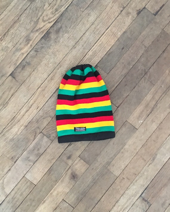 97a4f088dba Thinsulate red yellow green black striped hat turtleneck