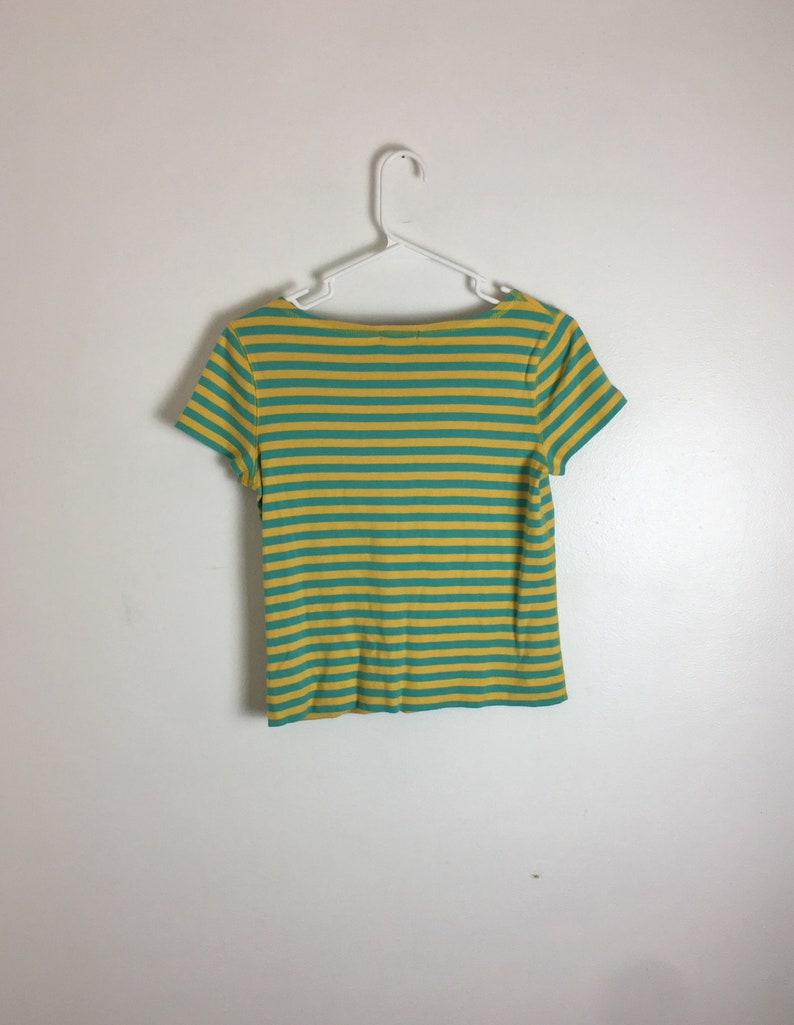 9605d21da Ralph Lauren Striped Tee turquoise and yellow striped womens   Etsy