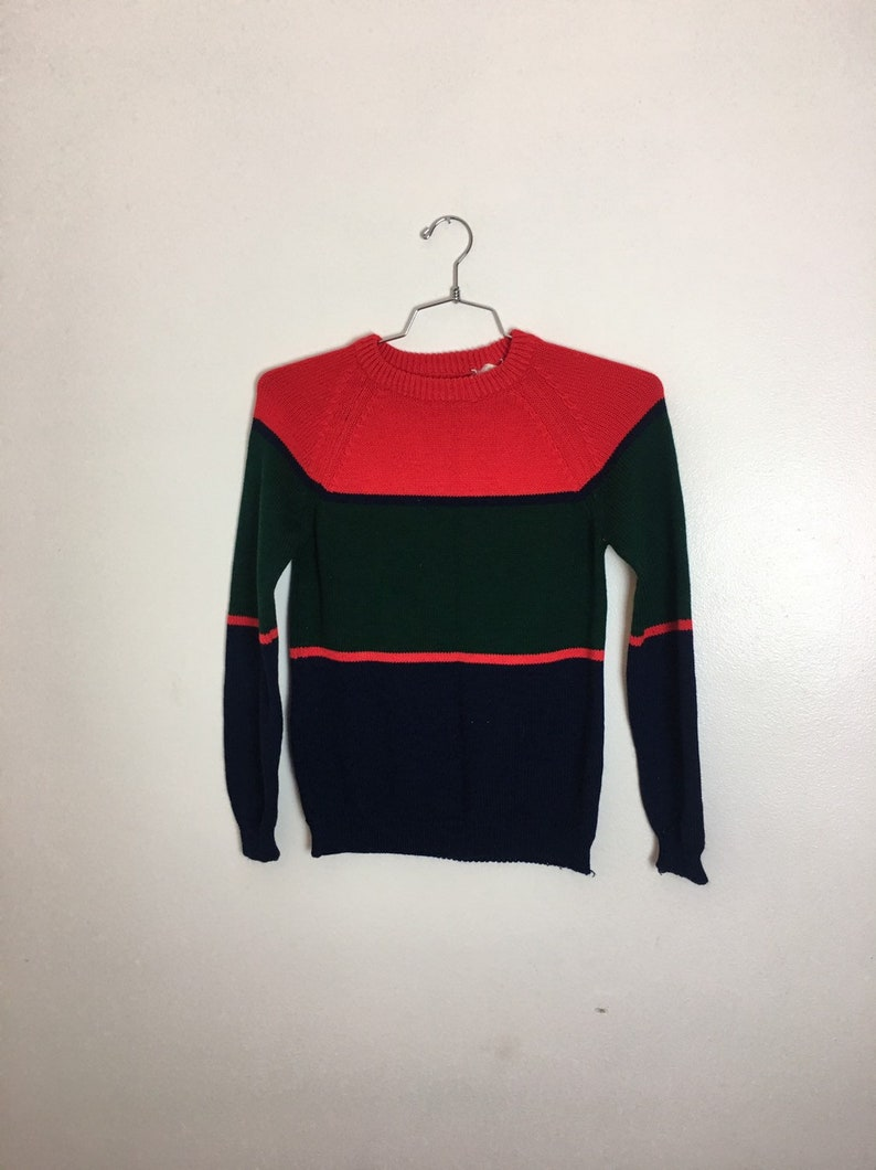 949f96479 Colorblock Striped Sweater with navy blue green red horizontal