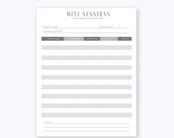 mini session sign up sheet template photoshop psd