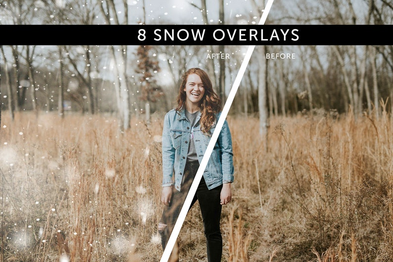 8 Falling Snow Flurries PNG/JPG  Snow Overlays Snow Effect image 0