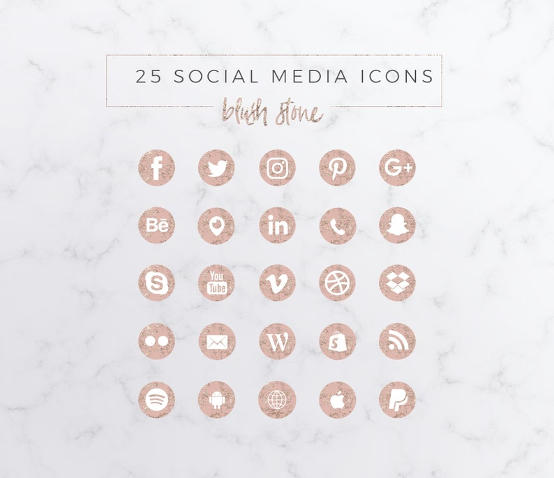 25 Social Media Icons Bundle Blush Stone PNG image 0